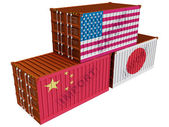 Trade containers USA Japan China — Stock Photo