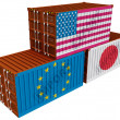 Stock Photo: Trade containers USJapEU