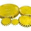 Royalty-Free Stock Photo: Five golden dollar gears