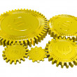 Five golden euro gears — Stock Photo