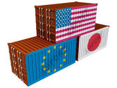 Trade containers USA Japan EU — Stock Photo
