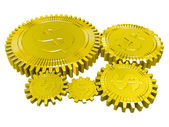 Five golden dollar gears — Stock Photo