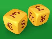 Gold money dice — Stock Photo