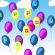 Happy birthday baloons — Stock Photo