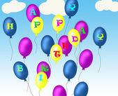 Happy birthday baloons — Stock Photo