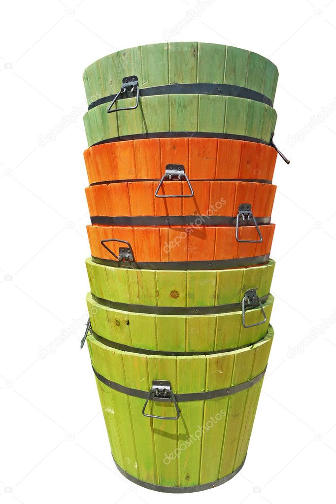 Image of a stack of colorfully stained wooden buckets isolated on white  Stock Photo #2075410