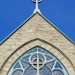 Church detail two Celtic crosses — Stock Photo