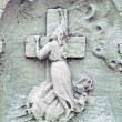Vintage gravestone detail woman mourning — Stock Photo
