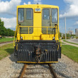 Yellow locomotive front view — Stock Photo