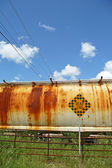 Rusty train car at dead end — Stock Photo
