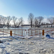 Rural winter bridge flooded and frozen — Stock Photo #2382552