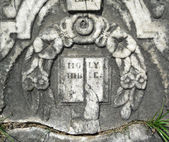 Vintage gravestone detail Holy Bible — Stock Photo