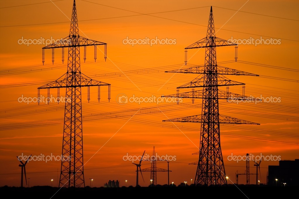 Power Lines and Wind Turbines at Sunset — Foto Stock #1990911