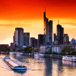 Sunset in Frankfurt am Main - Stock Photo