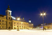 Main square winter snow Sibiu at night — Stock Photo