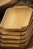 Tray wood made arrange in stack — Stock Photo