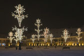 Main town square by christmas sibiu — Stock Photo