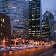 Stock Photo: City street winter dusk downtown