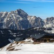 Mountain hut and snow — Stock Photo