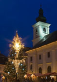 Chrismas tree town square sibiu — Stock Photo