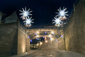 Christmas lights on street bridge Sibiu — Stock Photo
