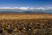 Mountain range snow peaks plowed field — Stock Photo