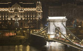 Budapest chain bridge night — Stock Photo