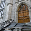 Stock Photo: Gothic church entrance door stairway
