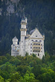 Castle neuschwanstein in forest mountain — Stock Photo