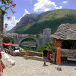 Old town mostar with famous bridge — Stock Photo