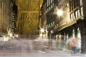 镇斯特拉斯堡和大教堂之夜 — 图库照片