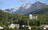 Hotel building in mountain resort davos — Stock Photo
