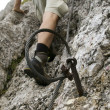 Safety cable on hiking mountain trail — Stock Photo