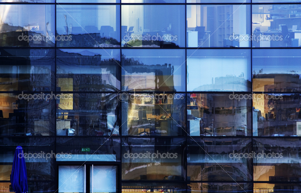Abstract office window reflections blues and glass  Stock Photo #1966565