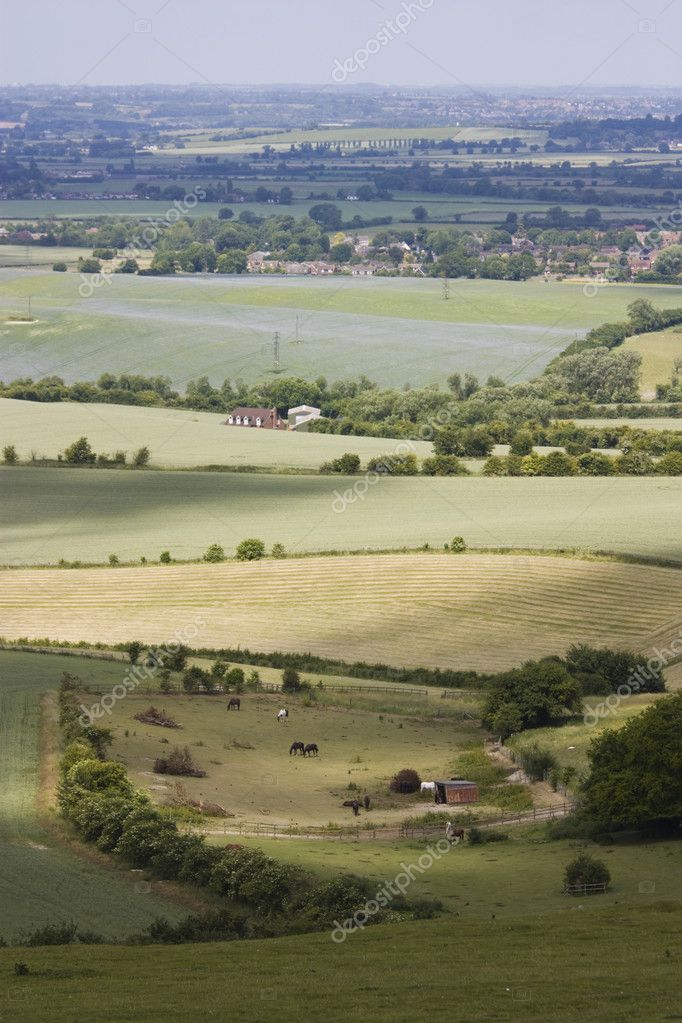 Views from a hill over the dunstable downs in england, uk — Stock Photo #1979695