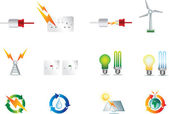 Electric power icons — Stock Vector