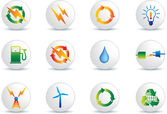 Electric power icon buttons — Stock Vector
