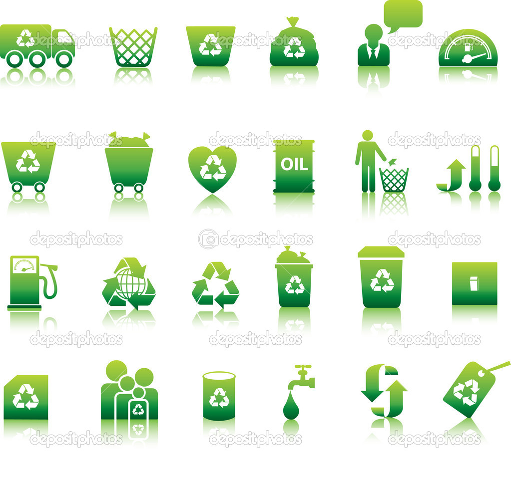 Eco icon set illustrated as green buttons — Stock Vector #1973268