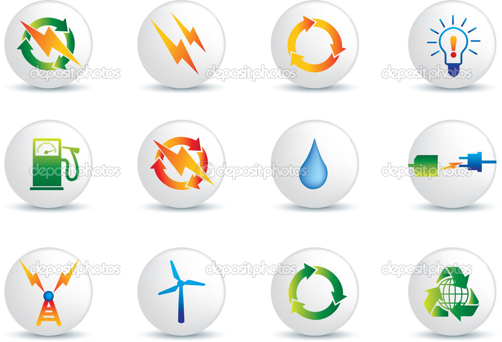 Electrical power detailed icon set  collection of buttons  Imagens vectoriais em stock #1973341