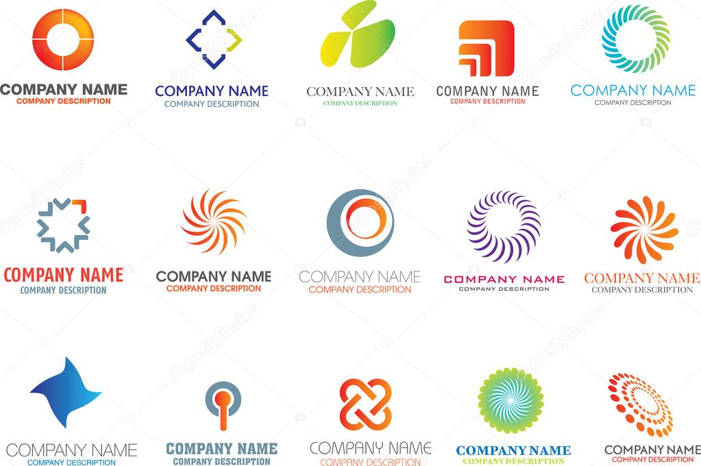 Set of corporate logos symbols and marks  Vektorgrafik #1973423