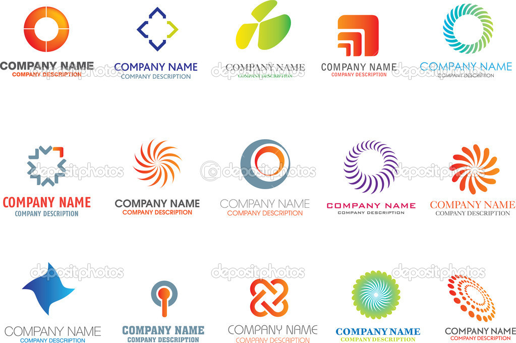Set of corporate logos symbols and marks  Grafika wektorowa #1973423