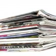 Stack of newspapers and magazines - Stock Photo