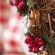 Noel çelenk yakın çekim — Stok fotoğraf