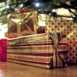 Presents under the christmas tree - Stockfoto
