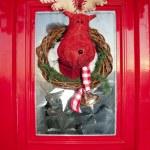 Christmas front door with handmade reindeer wrea — Stock Photo