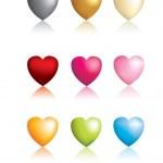 Set of 9 vector matt 3d hearts — Stock Photo #2019280