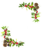 Holly and red berries border — Stock Photo