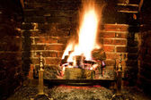 Roaring winter fire — Stock Photo