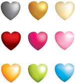 Uppsättning 9 3d ikonen vektor hjärtan — Stockfoto