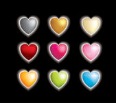 Set of 9 3d vector hearts with a glow affect — Stock Photo